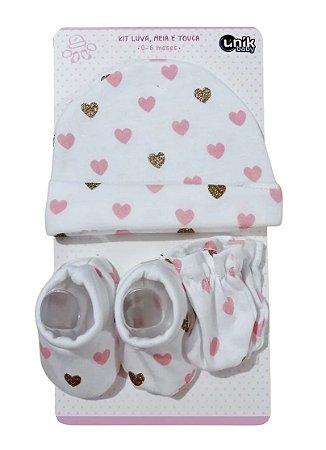 Kit Bebê 3 Pçs Corações Com Touca Luva e Meia