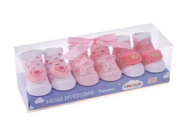 Kit Com 3 Meias Rosa Divertidas Pimpolho