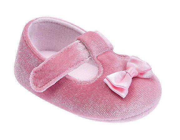Sapatilha Bebê Veludo Rosa - Pimpolho