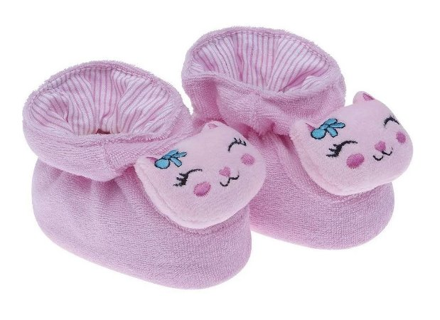 Pantufa Bebê Divertida Gatinha Rosa Pimpolho
