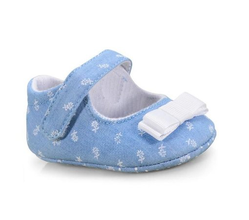 Sapatinho Bebê Floral Jeans - Pimpolho