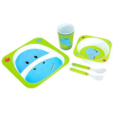 Kit Alimentação Para Bebês 5 Pçs Dinossauro Unik
