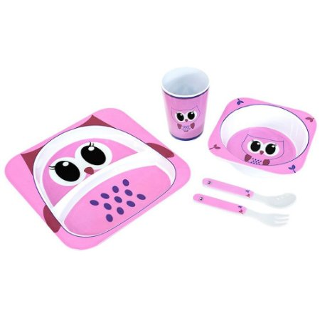 Kit Alimentação Para Bebês 5 Pçs Corujinha Unik