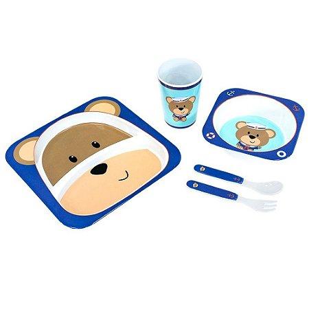 Kit Alimentação Para Bebês 5 Pçs Ursinho Unik
