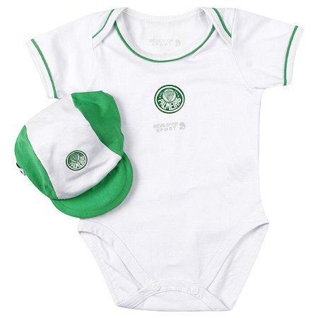 Body Bebê Palmeiras com Boné Oficial