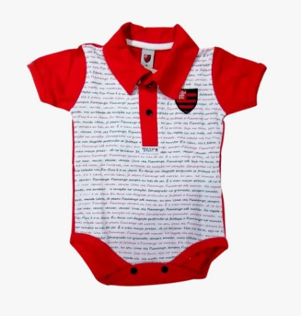 Body Polo Flamengo Estampa do Hino Oficial