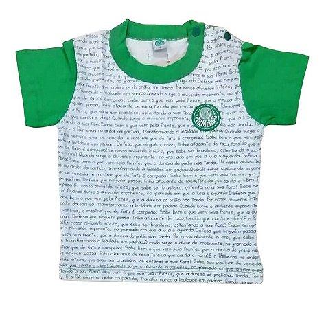 Camiseta Bebê Palmeiras Hino Manga Curta Oficial
