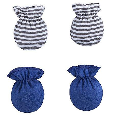 Kit 2 Pares Luva Bebê Azul Marinho Listrado Zip