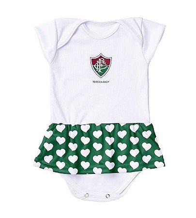 Body Vestido Fluminense Corações Verde Torcida Baby