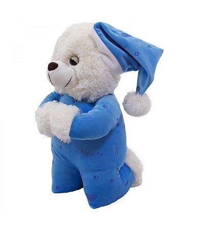 Ursinho Pelúcia Que Reza Pijama Azul Escuro 30cm