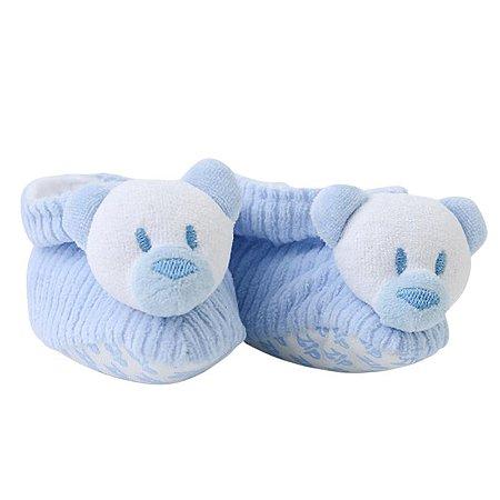 Pantufa Bebê Urso Azul em Cotelê Zip