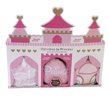 Kit Calcinhas Para Bebê Princesa com 3 Peças Zip