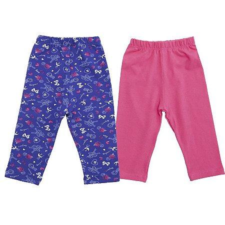 Kit Legging 2 Peças Laços Azul e Rosa Zip