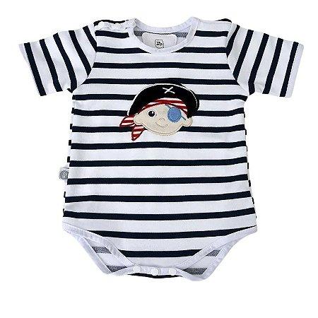 Body Bebê Pirata Manga Curta - Zip