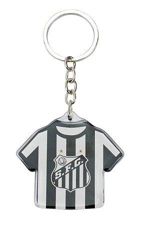 Chaveiro de Metal Camisa Futebol 5cm Santos Oficial