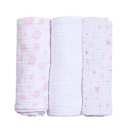 Kit Cueiro Soft Bolha Rosa 3 Peças 80cm X 80cm - Papi