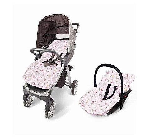 Capa Para Bebê Conforto E Carrinho Acolchoada Floral - Papi