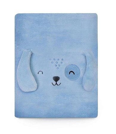 Cobertor Bebê Microfibra Cachorrinho Azul 1,10m X 85cm Papi