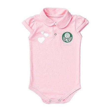 Body Palmeiras Polo Rosa Torcida Baby