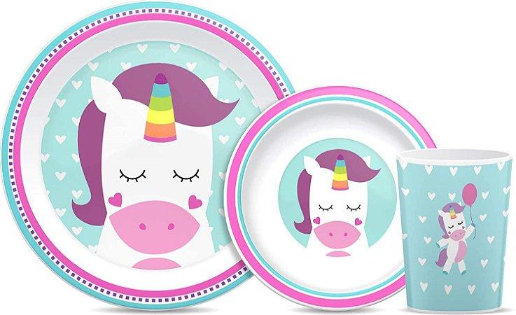 Kit Refeição Infantil Animal Fun Unicórnio Buba