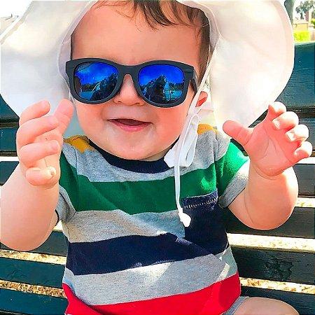 Óculos De Sol Infantil Preto Alça Ajustável Buba