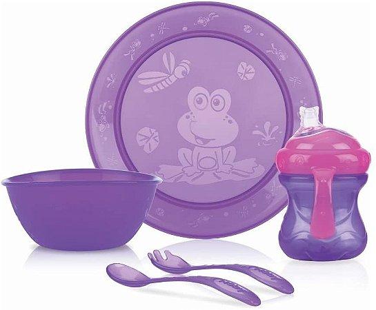 Kit Alimentação Infantil Com 5 Pçs Lilás Nuby