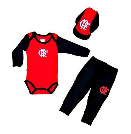 Kit Conjunto Flamengo Body Calça e Boné Oficial