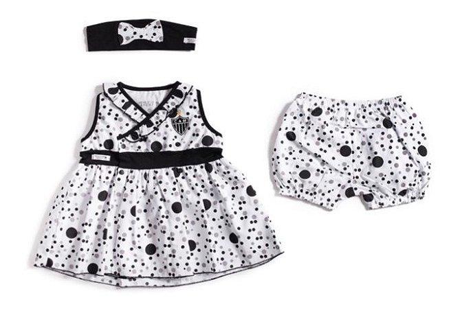 Vestido Bebê Atlético MG com Shorts e Tiara Revedor