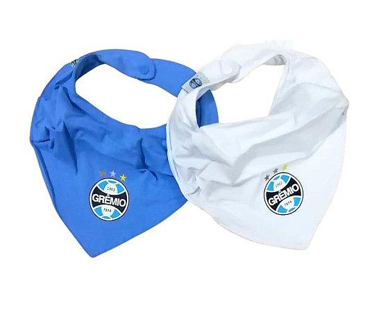Kit Babador Bandana Azul e Branco Grêmio Oficial