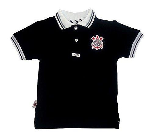 Polo Infantil Corinthians Preta Oficial