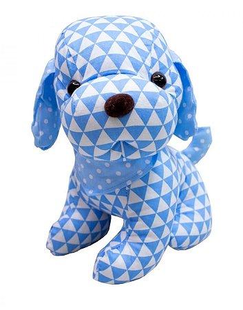 Pelúcia Cachorro de Pano Triângulo Azul 29cm
