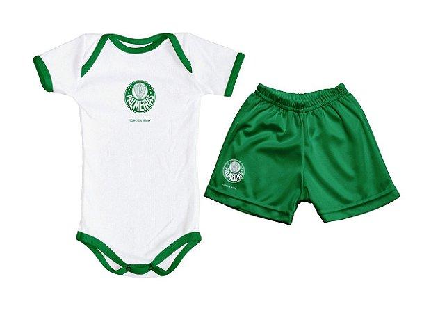 Kit Bebê Palmeiras Com Body e Shorts Torcida Baby