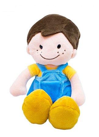 Boneco Sorridente Roupa Azul 29 cm
