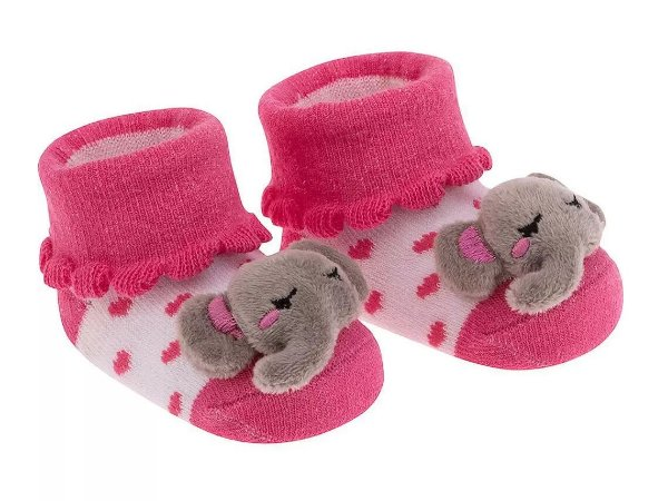 Meia Bebê Bichinho  Elefantinha Rosa Pimpolho