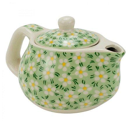 Bule Em Porcelana Para Chá Com Infusor Verde 250ml