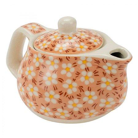 Bule Em Porcelana Para Chá Com Infusor Laranja 250ml