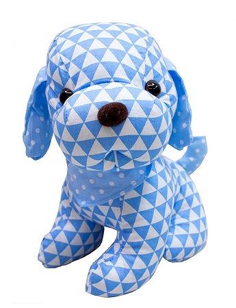 Pelúcia Cachorro de Pano Triângulo Azul 22cm