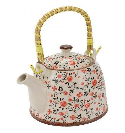 Bule Em Porcelana Para Chá Com Infusor Flores 750ml