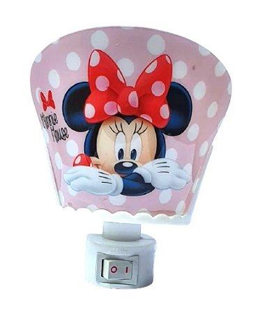 Mini Luminária Abajur Laço Minnie Rosa - Disney