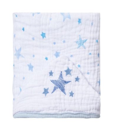 Toalha De Banho Bebê Com Capuz Azul Estrela Bordado Papi