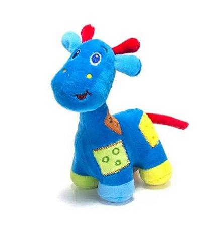 Girafa De Pelúcia Com Chocalho Azul Unik