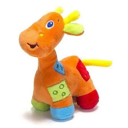Girafa De Pelúcia Com Chocalho Laranja Unik