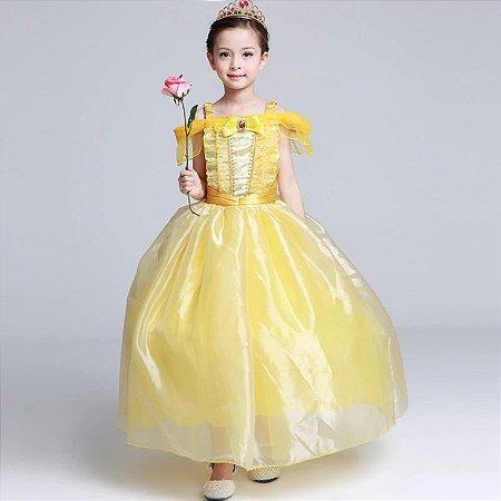 Vestido Fantasia Infantil a Bela e A Fera Amarelo