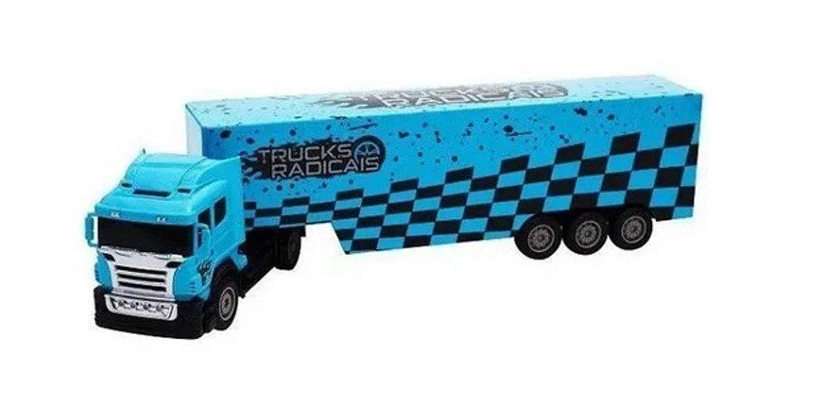 Caminhão Com Controle Remoto Truck Azul Unik