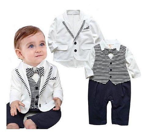 Terno Bebê Macacão Casaco Branco