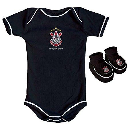 Body e Pantufa Corinthians Preto Torcida Baby