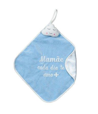 Naninha Bebê Cetim Nuvem Mamãe Azul Zip
