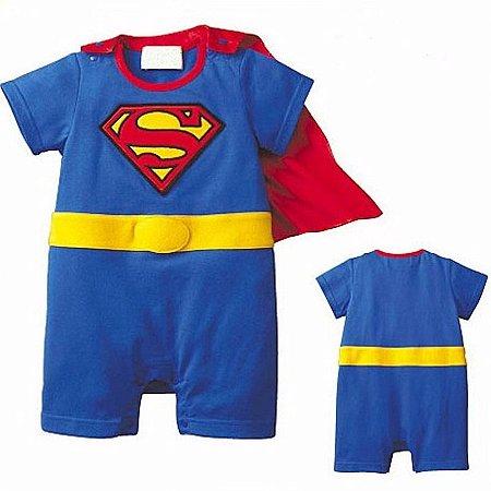 Macacão Bebê Super Homem Manga Curta