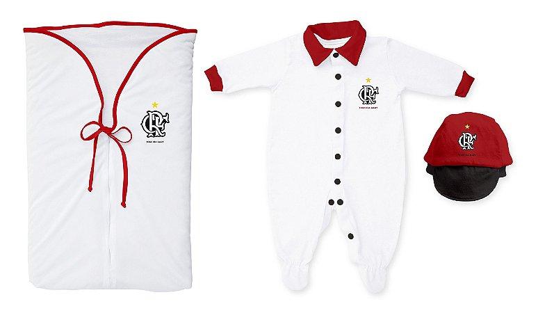 0cfe4d127aa4d0 Kit Maternidade Flamengo Branco - Torcida Baby