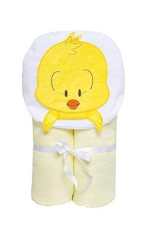 Toalha De Banho Sem Forro Pintinho Com Capuz Papi